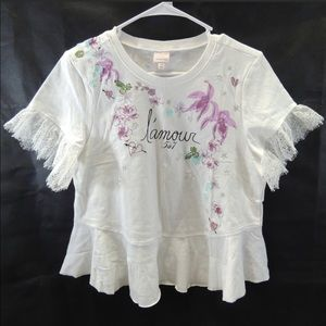 Cinq a Sept- White Embroidered Peplum Top Sz XS/S